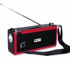 Портативная беспроводная колонка New Rixing NR-B2L красная с фонариком