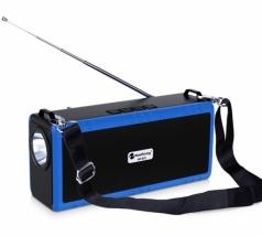 Портативная беспроводная колонка New Rixing NR-B2L синяя с фонариком