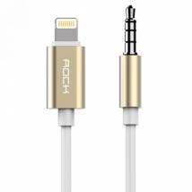 Кабель аудио AUX Lightning на 3.5 мм Rock Audio Cable для iPhone золотой 1м