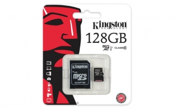 Карта памяти MicroSD 128 Gb Kingston с адаптером SD 80Mb/s