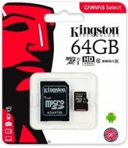 Карта памяти MicroSD 64 Gb Kingston с адаптером SD 80mb/s U1