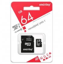 Карта памяти MicroSD 64 Gb Smart Buy с адаптером SD