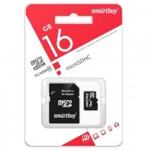 Карта памяти MicroSD 16 Gb Smart Buy с адаптером SD